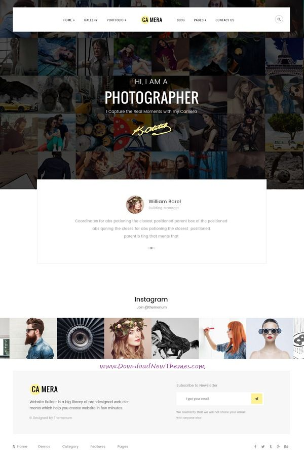 Camera is clean and modern pixel-perfect design PSD template for photographers and portfolio showcase website with 34 layered PSD pages in light and dark versions to live preview & download click on Visit 👆 #photographer #psdgraphcis