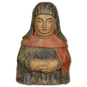 Busto de Monja. Escultura de madeira policromada, meio corpo, olhos amendoados, linhas simples; 42 cm de altura. Espanha, sec. XVIII. Período felipino.