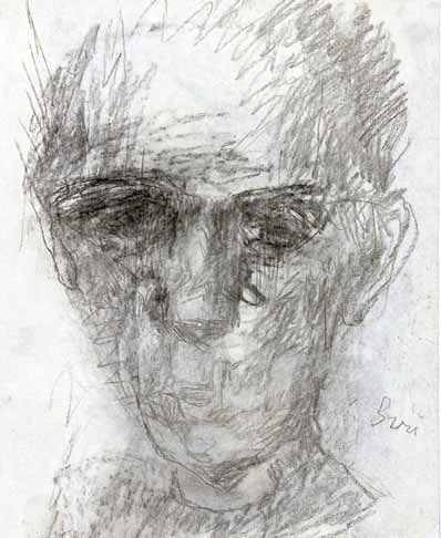 """""""Självporträtt"""" krita, Siri Derkert © Moderna Museet, Stockholm"""
