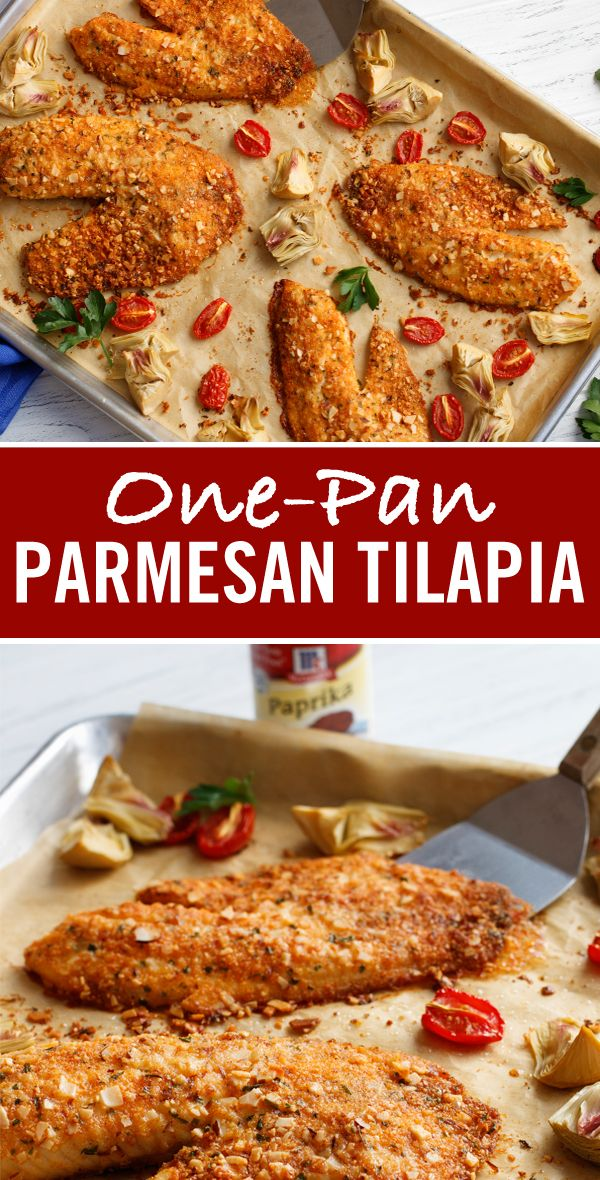 Finely chopped almonds, bread crumbs and Parmesan cheese combine to make a crust for baked tilapia in this easy sheet pan dinner idea.