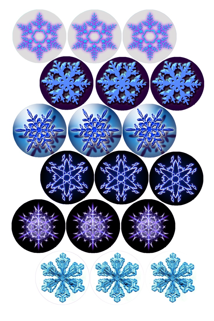 """Free Bottle cap Images - Snowflakes, Formatted for printing on 4"""" x 6"""" photo paper"""