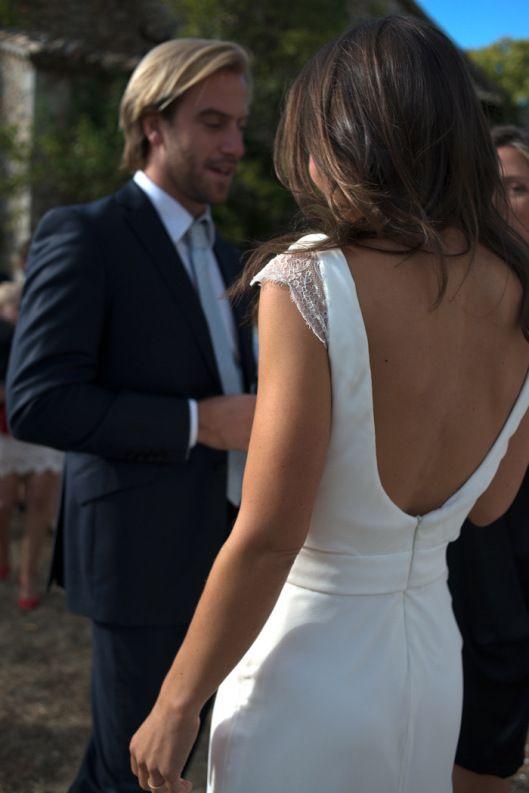 vestido novia espalda al aire sencillo encaje crepe seda