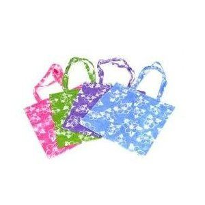 ~ 12 ~ Hibiscus Print Tote Bags ~ Large 16.5 ~ Non-woven Material ~ New ~ Luau Party, Beachbag,,$15.41