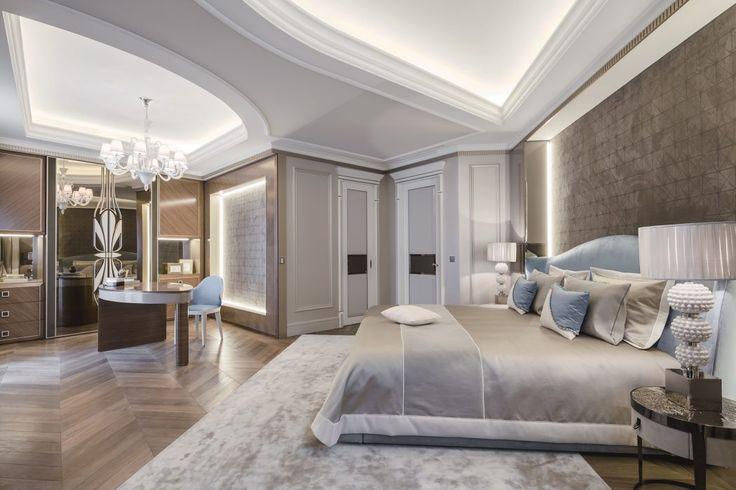 Une grande chambre aux couleurs douces. #décoration #luxe #inspiration #couleurs