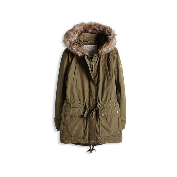 Leicht glänzender Parka mit Fell-Kapuze (3,255 MXN) ❤ liked on Polyvore featuring outerwear, coats, brown parka, parka coat, brown coat and brown parka coat