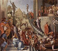José en Egipto, de Pontormo (ca. 1518, misma ubicación). El desequilibrio en la composición, basada en líneas de fuerza sinuosas, y el dinamismo de las figuras, muestran una nueva sensibilidad.