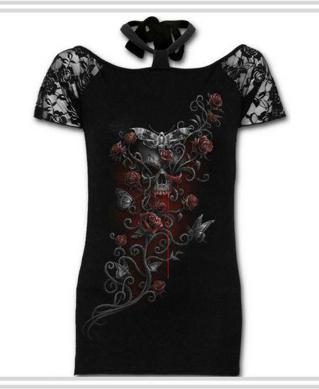 Camisetas con Calaveras, Rosas y Polilla de Mujer #calavera #skull #camisetas #t-shirt #xtremonline