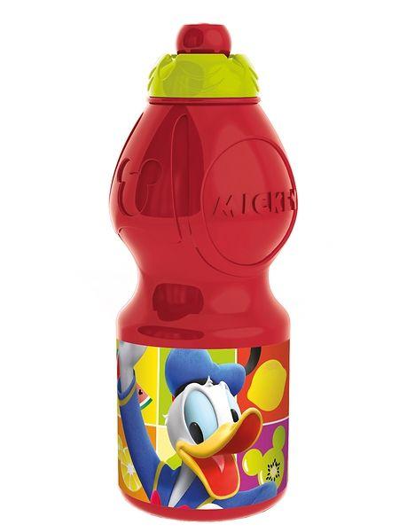 Pirteän punainen Aku ja Mikki - juomapullo saa nokkapielet kääntymään yläkanttiin. Pullossa on kätevä kierrekorkki, ja sen kyljessä komeilee itse Aku Ankka. Pullon vetoisuus on 400 ml.