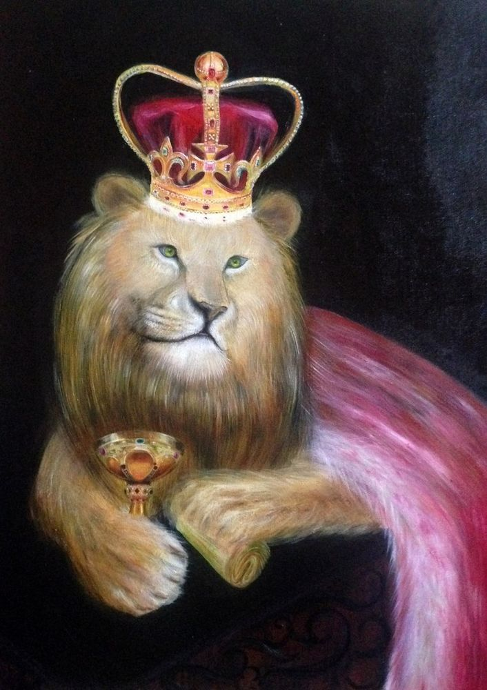 """Original oil painting on canvas """"King"""" 27x35 inch Magnificent handpainted artwor #Surrealism"""