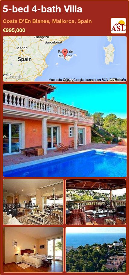 5-bed 4-bath Villa in Costa D'En Blanes, Mallorca, Spain ►€995,000 #PropertyForSaleInSpain
