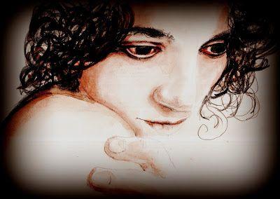 """""""Al centro del vuoto (ritratto n. 13)"""". Uno dei ragazzi le dice qualcosa a voce alta ridendo, Argenta senza fretta si volta all'indietro come sostenendo una parte, lascia in aria un'impercettibile pausa, poi fa segno di no con la testa, e riprende a camminare guardando avanti a sé in piena tranquillità, allontanandosi.... (di Bruno Magnolfi - Acquerello di Giulia Tesoro)."""