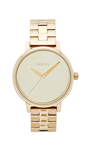 Nixon Women's 'Kensington' Quartz Stainless Steel Casual Watch, Color:Gold-Toned (Model: A0992764):   A minimalist Nixon watch with a round, brushed dial. Hinged-snap clasp. Extra links included.