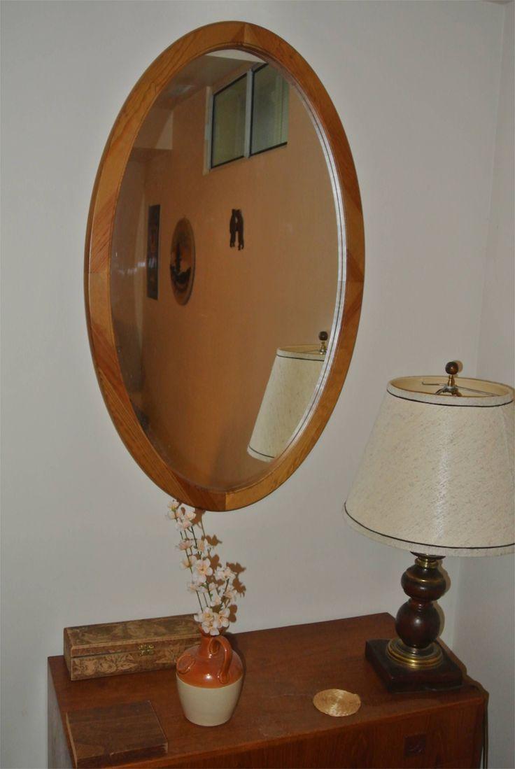 1980s Teak framed mirror