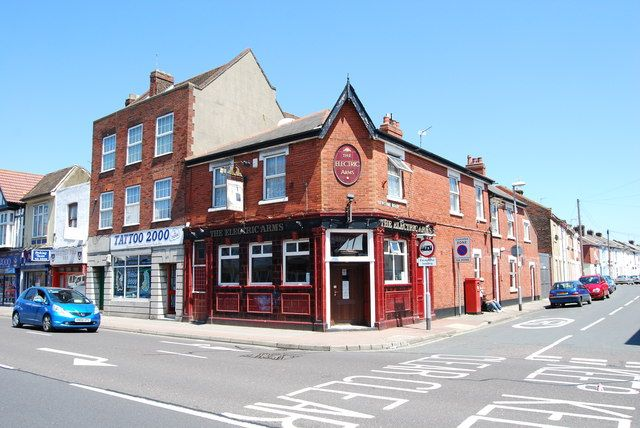 The Electric Arms in Fratton Road. Designed by A E Cogswell and opened in 1924, replacing earlier pubs on the same site.