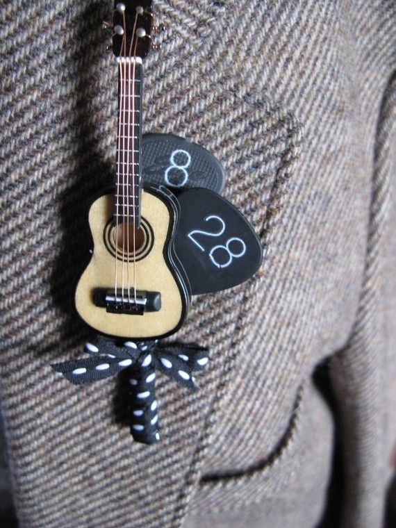 Custom Guitar Boutonniere with Wedding Date. Non Floral Boutonnieres - Groom Wedding Style - KnotsVilla