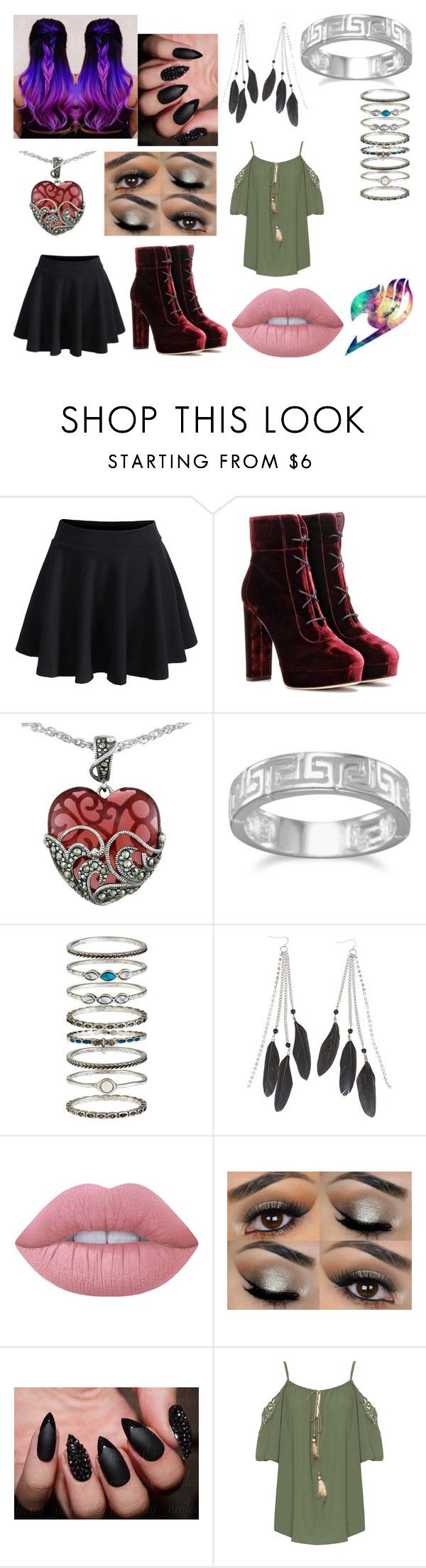 """FairyTail Character"" by kenzie-motionless on Polyvore featuring Jimmy Choo, Lord & Taylor, BillyTheTree, Accessorize, Charlotte Russe, Lime Crime and WearAll"