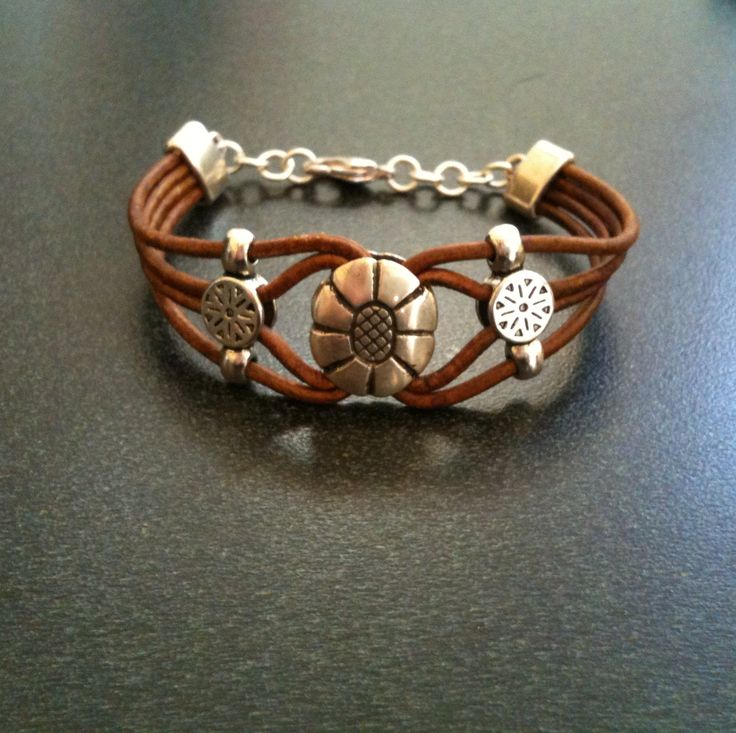 Tan Leather Bracelet with Silver Focal and Spacers -completed 6-30-13