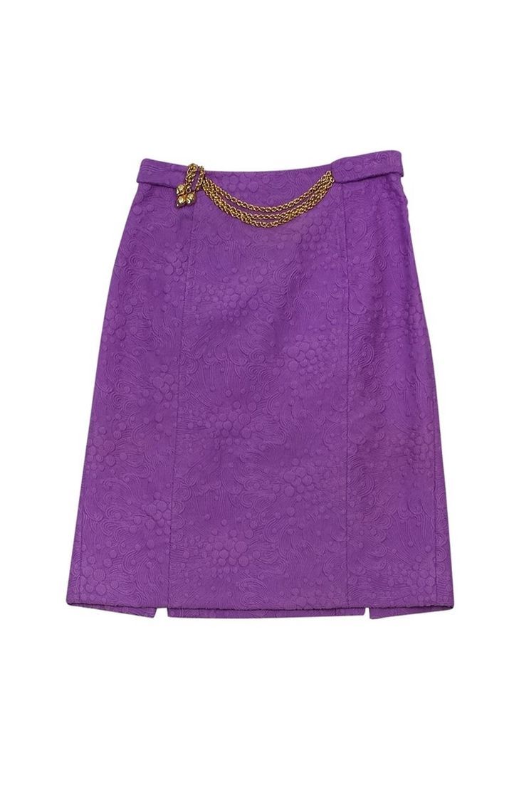 Milly- Purple Pencil Skirt w/ Gold Chain Belt Sz 2 | Current Boutique