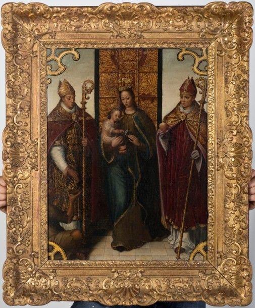 Pieter II CLAESSENS (Bruges avant 1571-1623) Pieter II CLAESSENS (Bruges avant 1571-1623), Vierge à l'Enfant entre deux évêques. Huile sur toile, 67 x 52 cm. (réentoilage et restaurations anciennes) Cadre… - Villanfray & Associés - 05/02/2016
