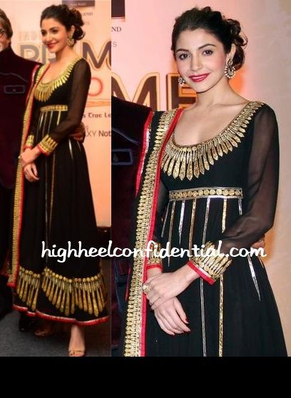Anushka Sharma in a black Abu Sandeep anarkali at the CBS/BigFM Awards