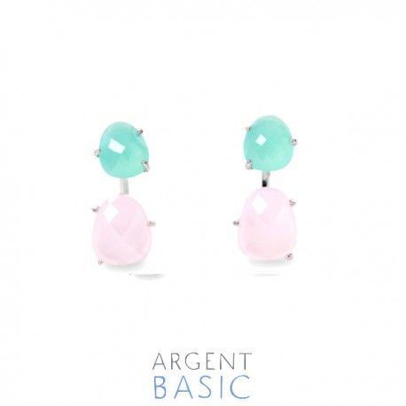 Pendientes dobles de plata y piedras verde agua, y rosa cuarzo.