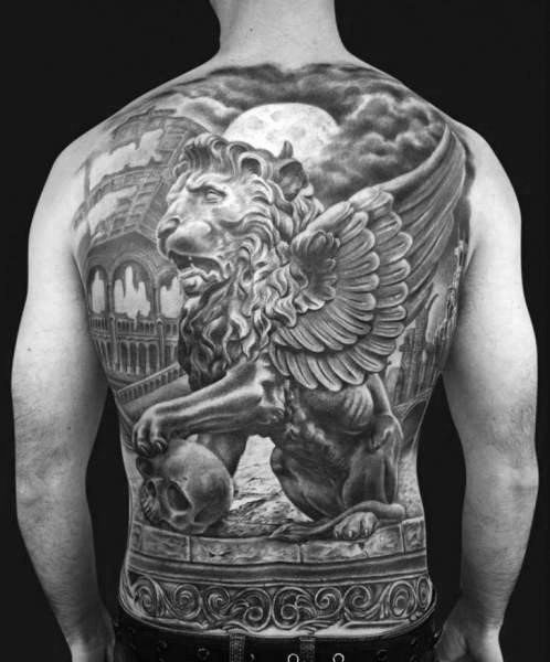 40 Lion Statue Tattoo Designs For Men - Carved Stone Ink ...