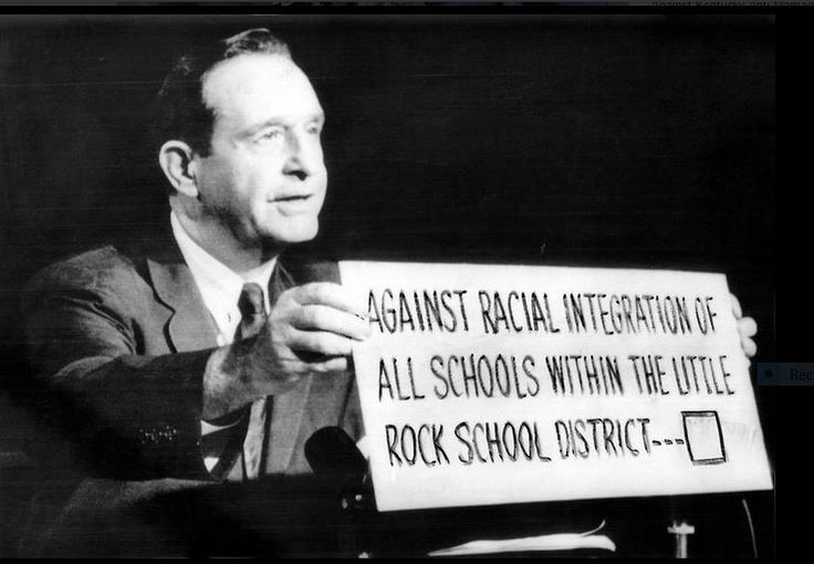1958-09-26: Arkansas Governor Orval Faubus on television encourages voters to reject integration of schools on 09-27-1958.