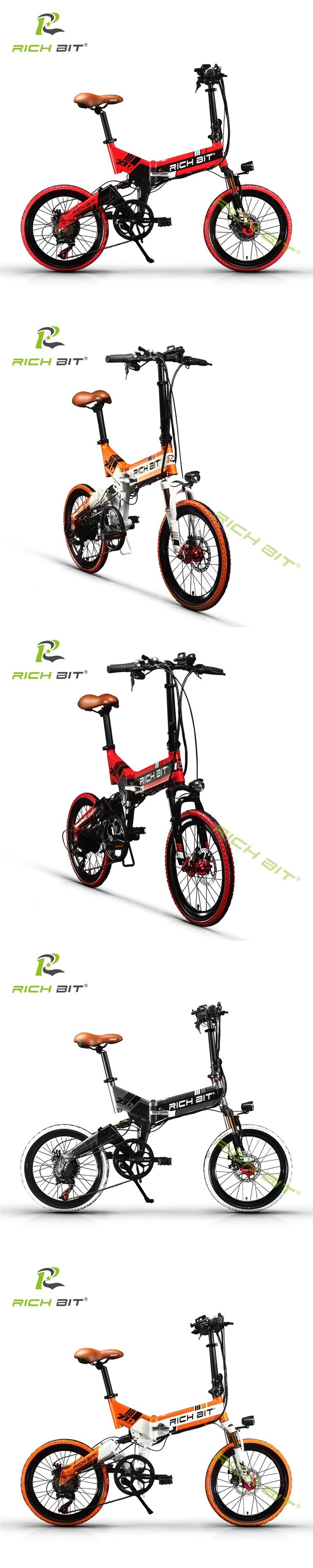 RichBit New 48V 8AH Hidden Battery Folding Electric Bike 20 inch 21 Speeds Electric Bicycle With USB Cell Phone Recharger Holder