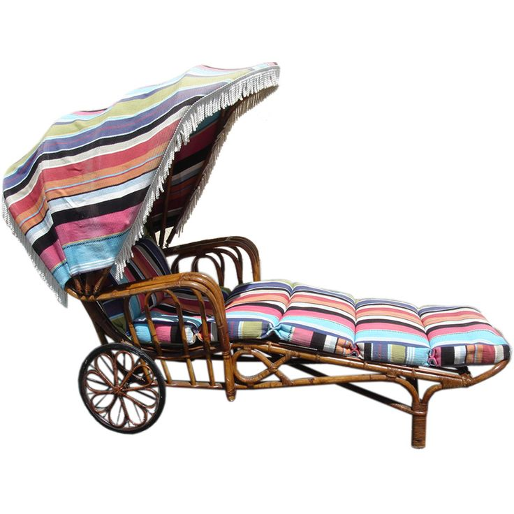Decorate:  Hayward Wakefield Chaise Lounge w/ Canopy & wheels 1930's