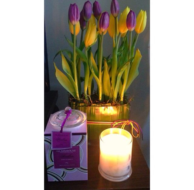 Limited edition Avalon Glasshouse Candle with some of my favorite flowers
