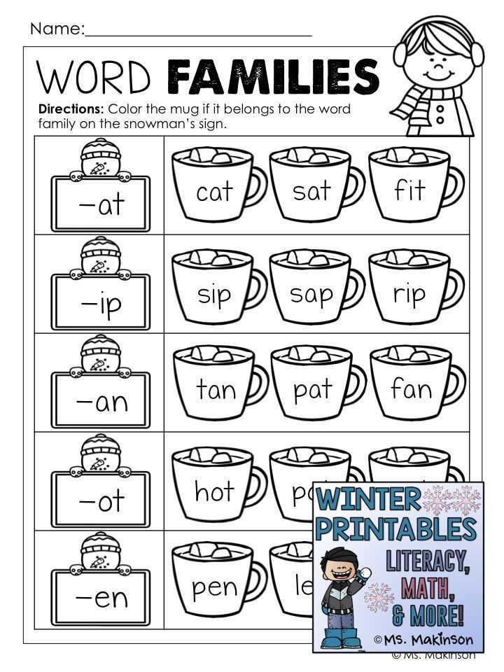 Winter Printables Literacy Math Science With Images Word