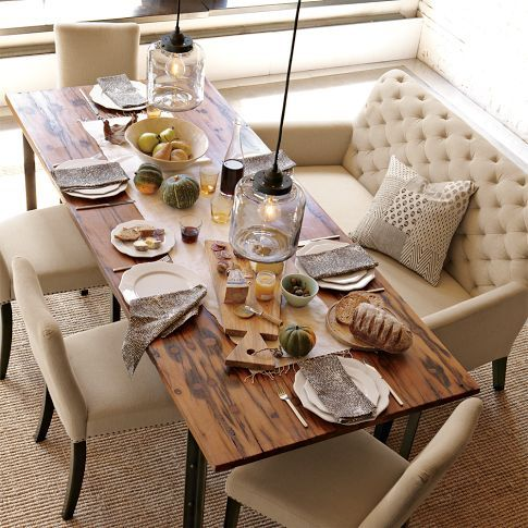 Beautiful Chic Dining. Gorgeous settee. Love the Wood Country table & the Chic Lighting