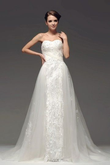 Nailsworth Tulle Sweetheart Beading Lace Long Wedding Dress