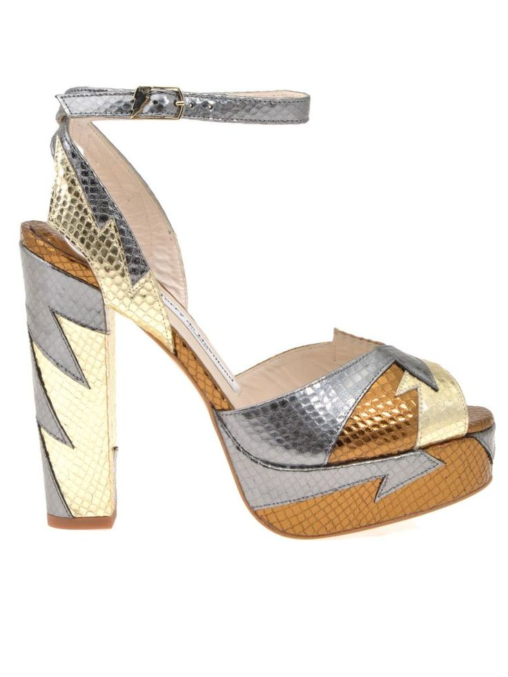 Leather Sandal from Terry de Havilland: Laminated reptile effect leather sandal with contrasting color inserts, One band on shoe upper, One crossed ankle strap…