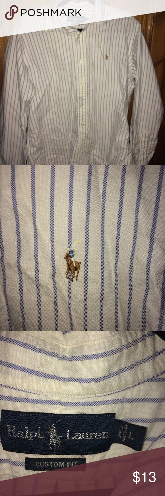 Ralph Lauren Polo dress shirt Large white with blue stripes Polo dress shirt in excellent condition Polo by Ralph Lauren Shirts Dress Shirts