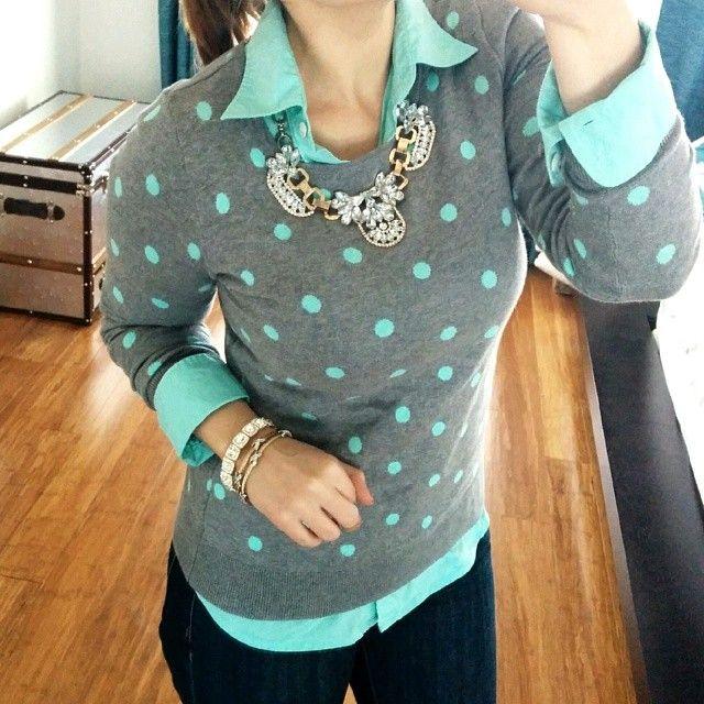 Mint polka dots Old Navy Mint Polka Dot Sweater {love this one} | J.Crew Mint Top | Michael Kors Nude Pumps | AG Jeans Denim