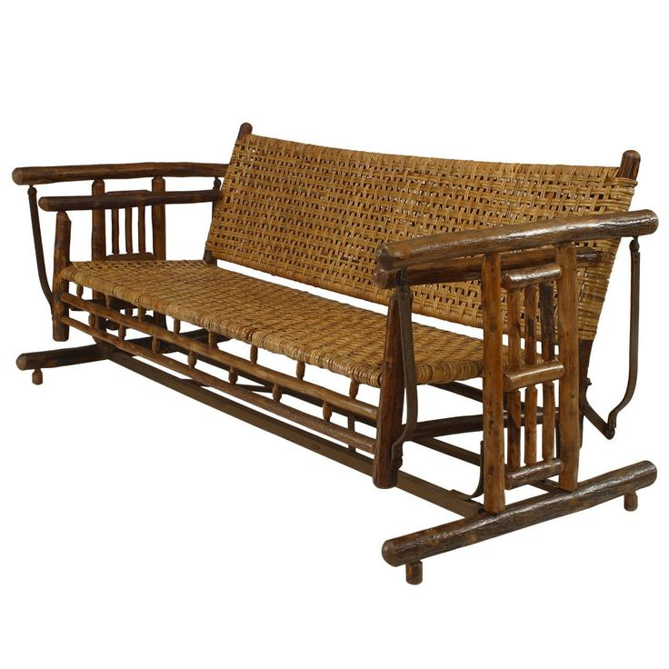 Large 1930s American Old Hickory Co. Settee Porch Glider | From a unique collection of antique and modern rocking chairs at https://www.1stdibs.com/furniture/seating/rocking-chairs/