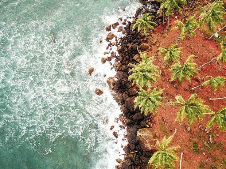 The beautiful coast line of Sri Lanka. This picture was taken in Mirissa on our DJI Magic Pro 🌴 www.seekseetravel.com