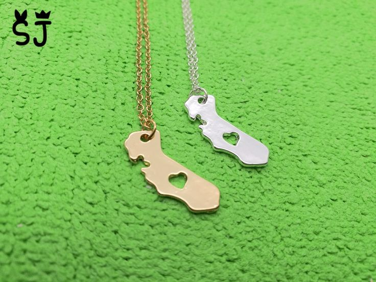 5PCS- N057 Outline California State Necklace With Heart USA CA State Necklace I heart love California necklaces map necklace