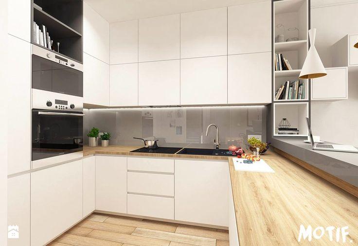 Tamka 29- I propozycja - Mała otwarta kuchnia w kształcie litery u w aneksie, styl skandynawski - zdjęcie od MOTIF