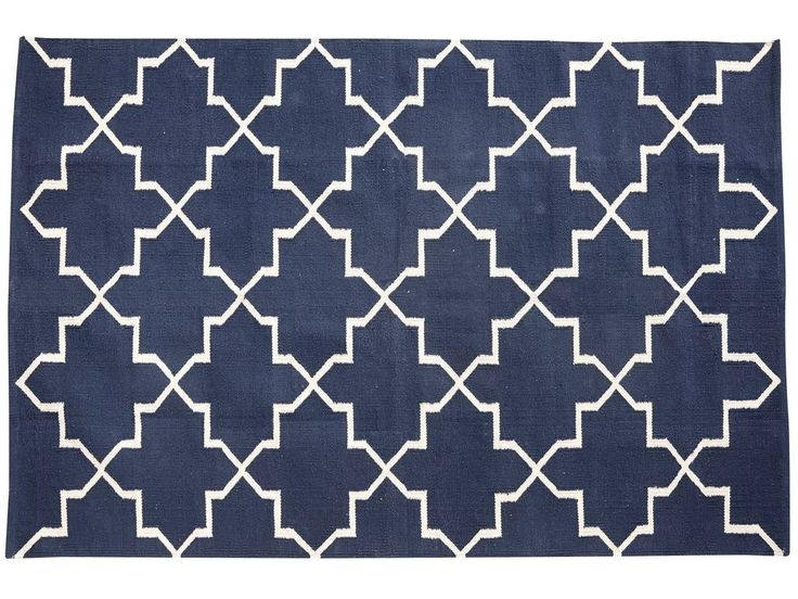 Prachtig blauw vloerkleed met witte print. Mooi voor in de woonkamer.