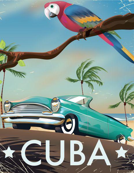 Cuba vintage travel poster print Art Print