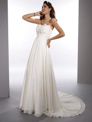 Dere Kiang 11072 Wedding Gown Light and Flowy, Flowers, Belt Chiffon