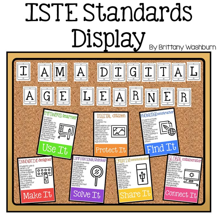 Start your year off right with this bulletin board or display. All of the ISTE Standards on stylish yet academic posters, with letters to use as a heading. Just print and set up!