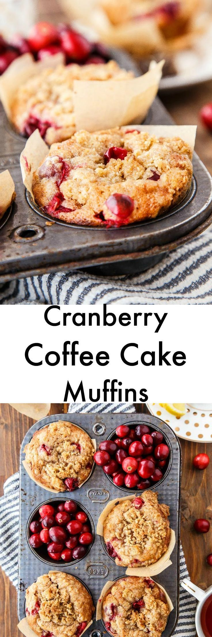 A small batch of rich coffee cake in muffin form. Add cranberries for tang, or sub blueberries. Makes 5 muffins.