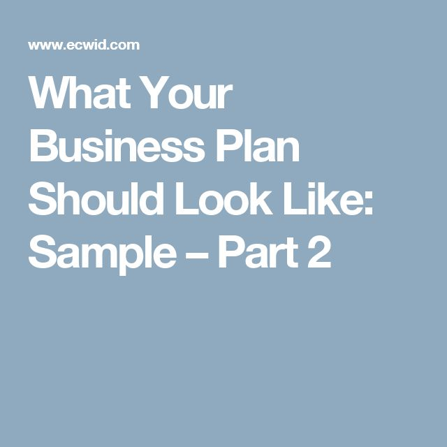 What Your Business Plan Should Look Like: Sample – Part 2