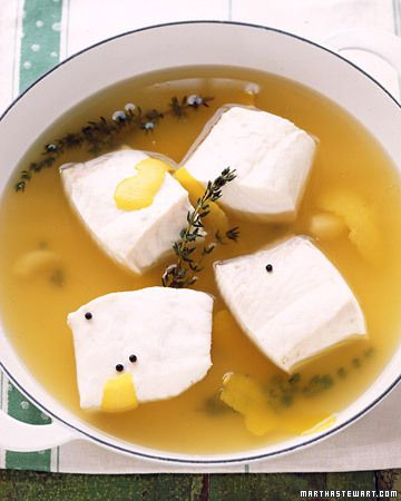 Poached Halibut in Lemon-Thyme Broth (never tried poaching anything, but this sounds good)