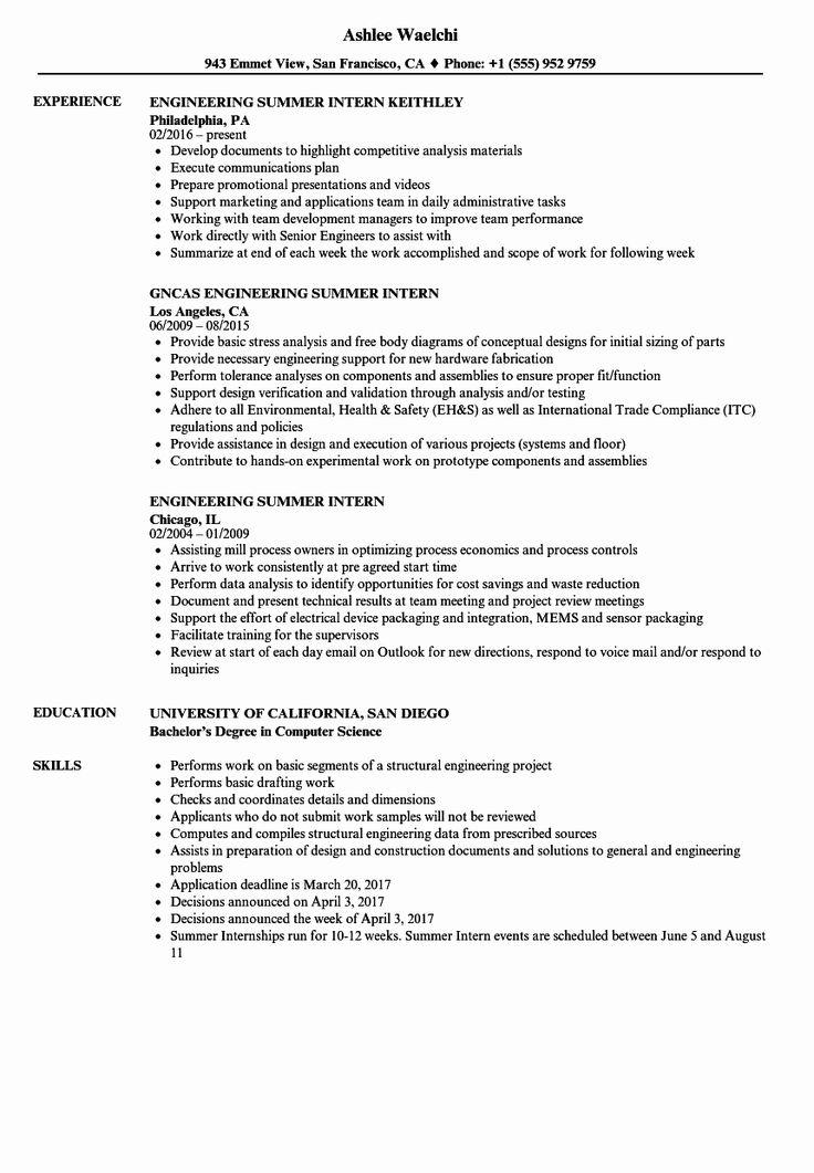 20 Civil Engineering Intern Resume in 2020 Engineering