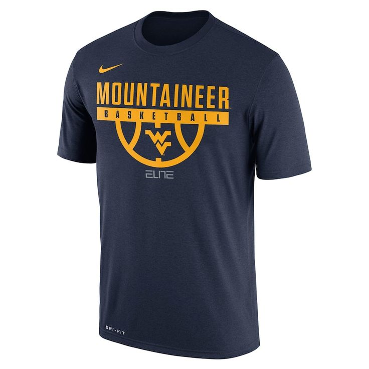 Men's Nike West Virginia Mountaineers Dri-FIT Basketball Tee, Size: Medium, Blue (Navy)