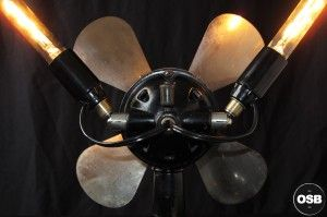 Lampe Tractor creation unique ventilateur steampunk loft 8  / strange Steampunk Industrial Tractor lamp made from vintage stuff